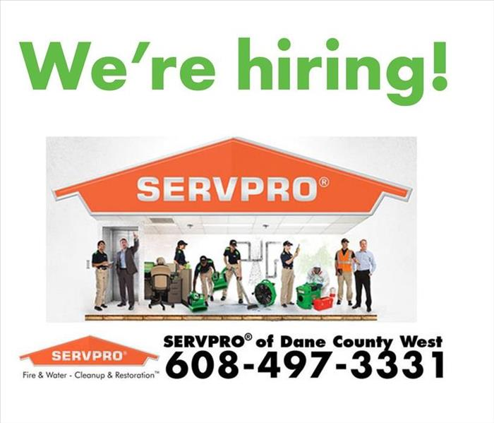 SERVPRO logo with images of SERVPRO workers and Caption saying We're Hiring
