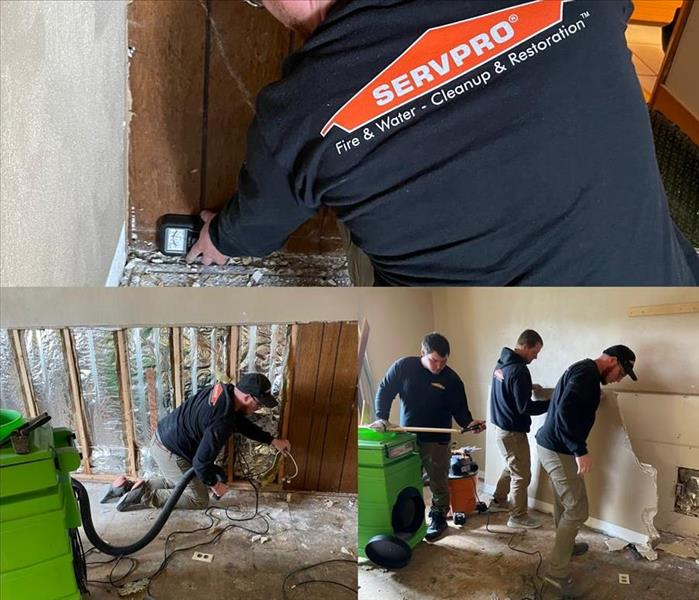 a collage of SERVPRO technicians wearing SERVPRO uniforms working on a water loss job by monitoring and removing drywall