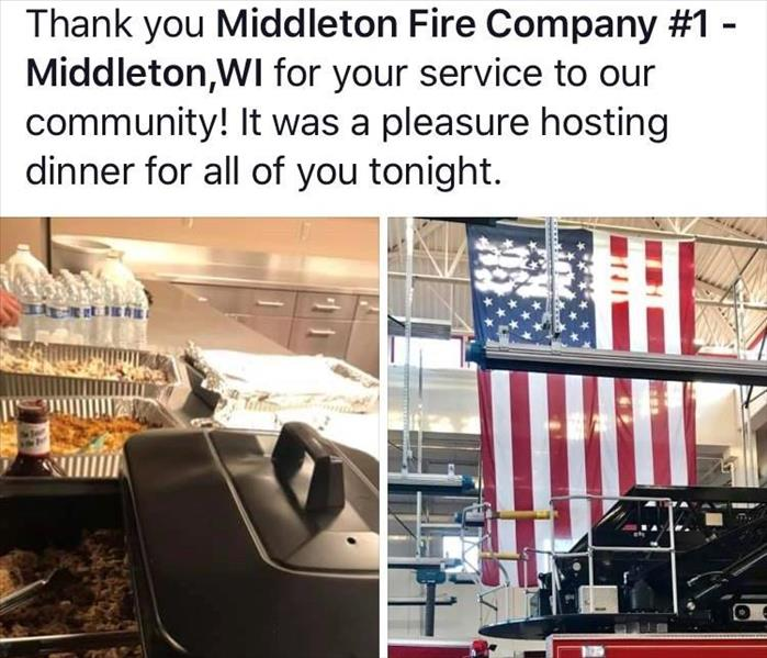 a snapshot of a fb post thanking middleton fire department for their service by hosting a dinner buffet spread