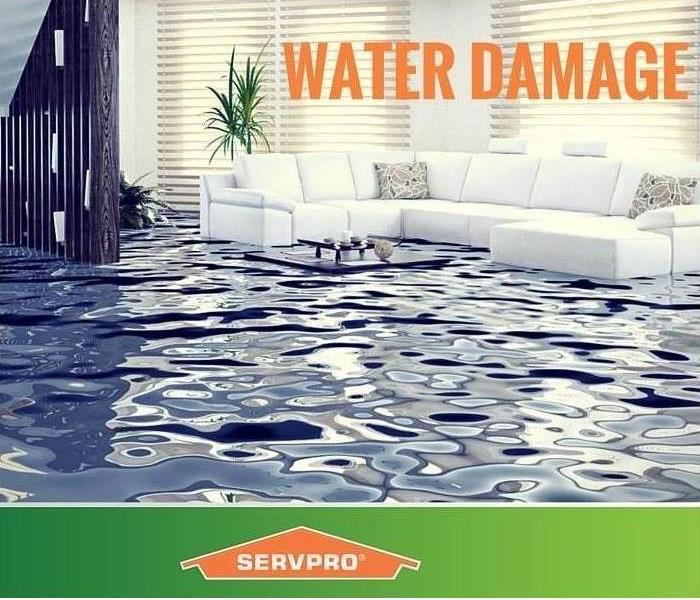 "flooded room in a house with a couch floating in the water with SERVPRO graphic saying ""Water Damage?"""