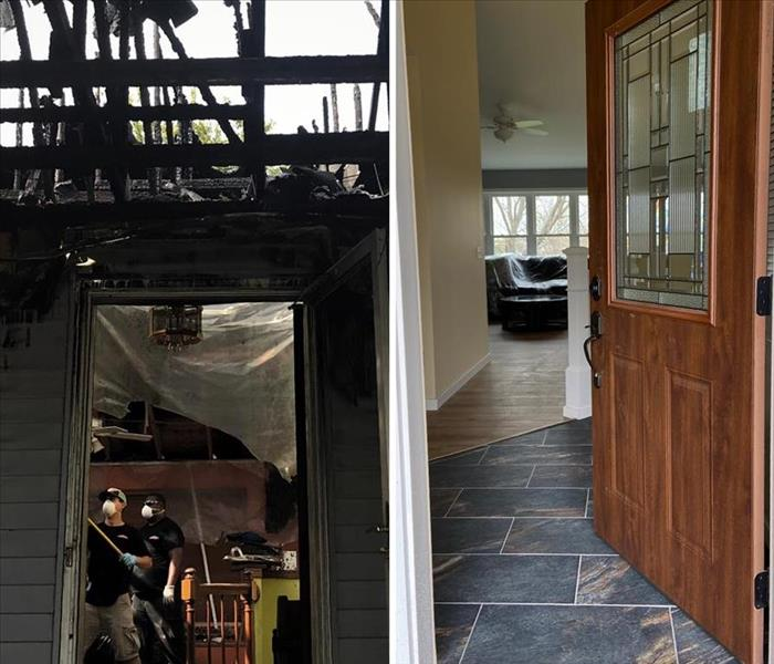 a side by side comparison of the front door entry way that was ravaged by a fire