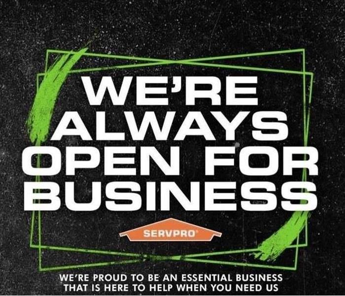 "a black background with graphic lettering saying, ""We're Always Open For Business"""