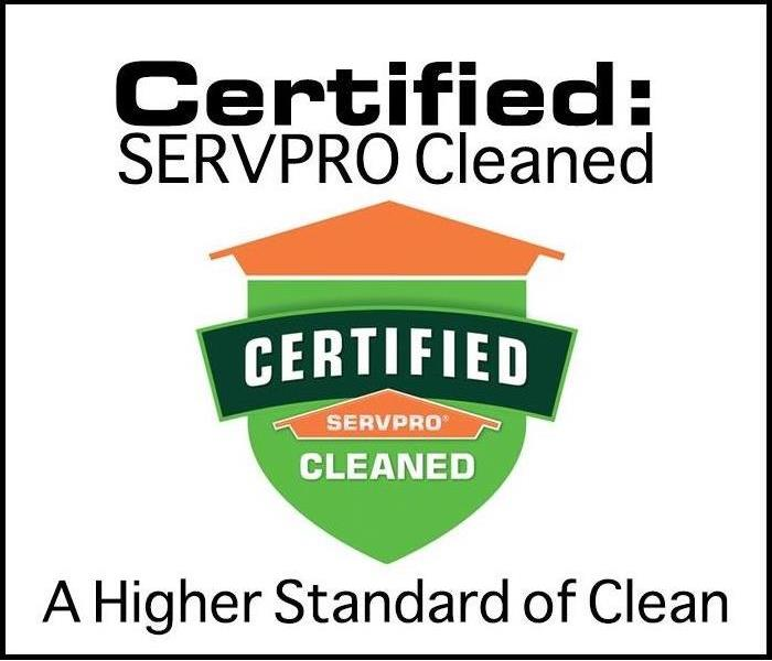 Certified: SERVPRO Cleaned logo with added verbiage that states A Higher Level of Clean