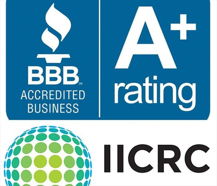 a graphic logo of the Institute of Inspection, Cleaning and Restoration (IICRC) and a logo of the Better Business Bureau
